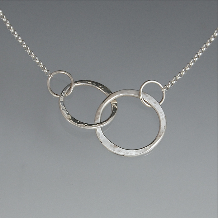 two silver necklace sterling ring purple linked infinity circle