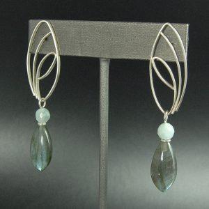 blue quartz and labradorite earrings